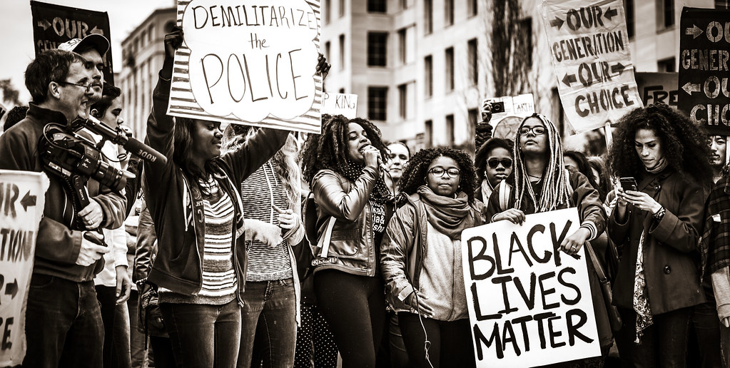 """""""Black Lives Matter"""" protest depicted."""