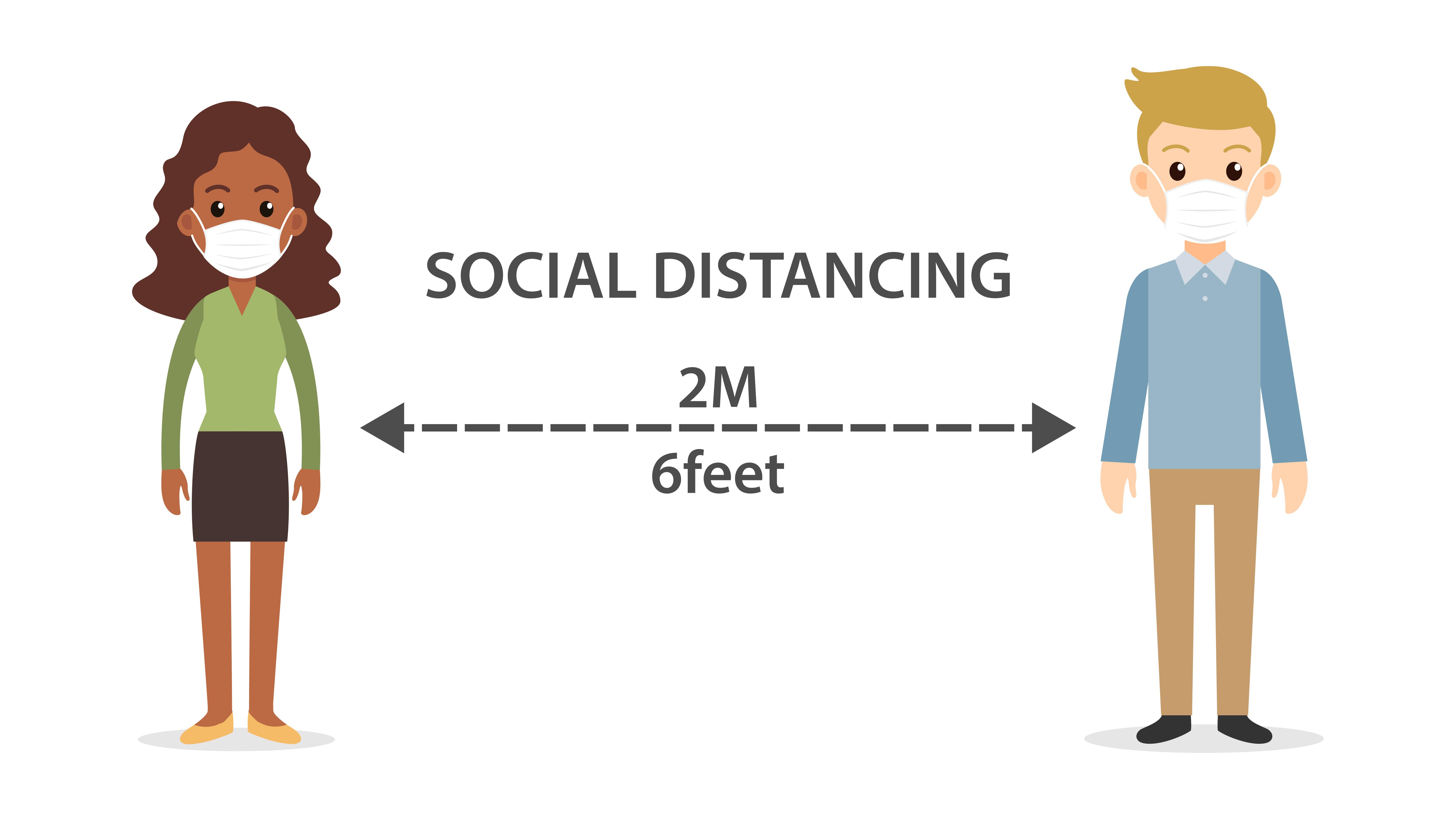 2 People practicing social distancing.