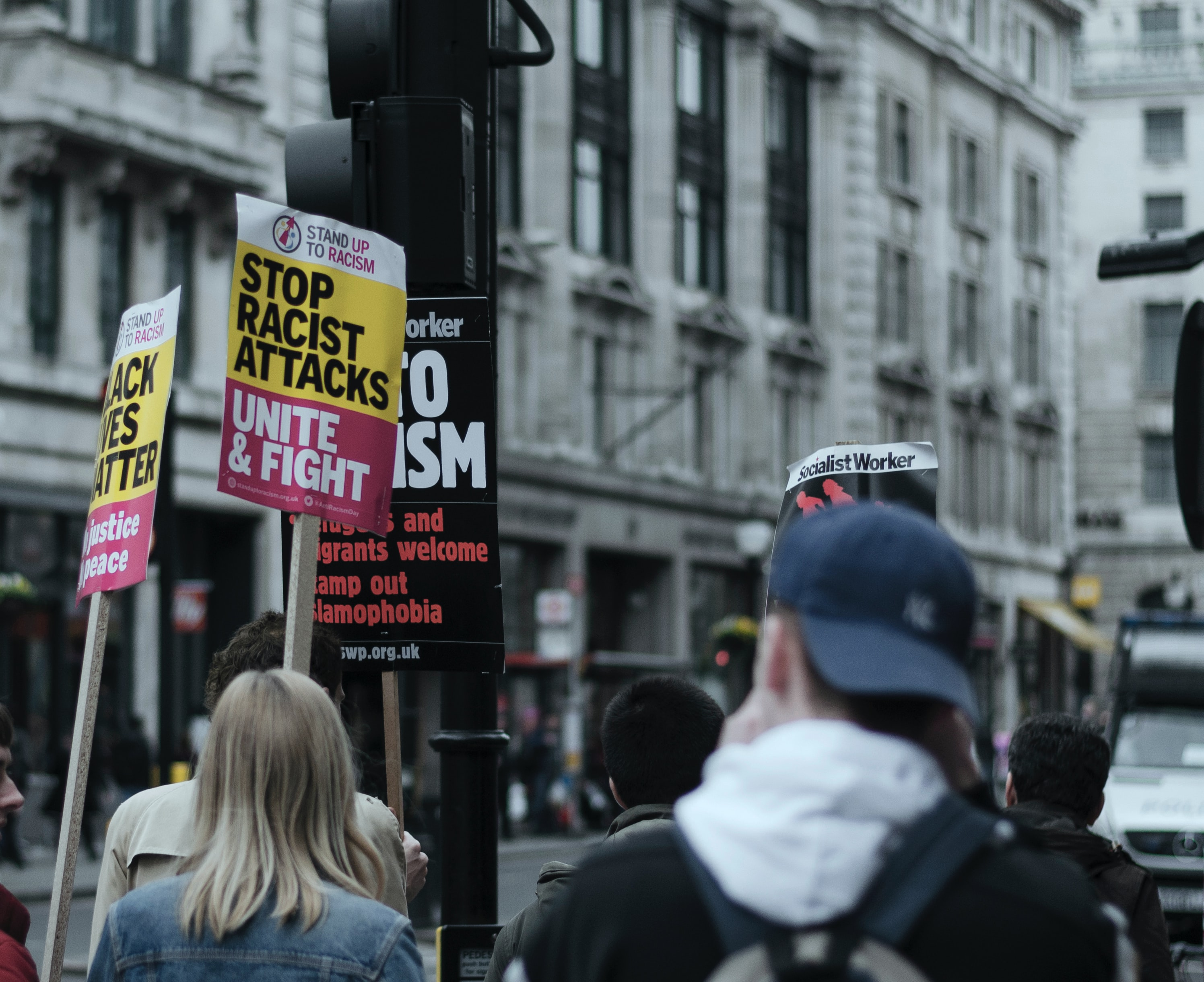 Around anti-racism protesters in London