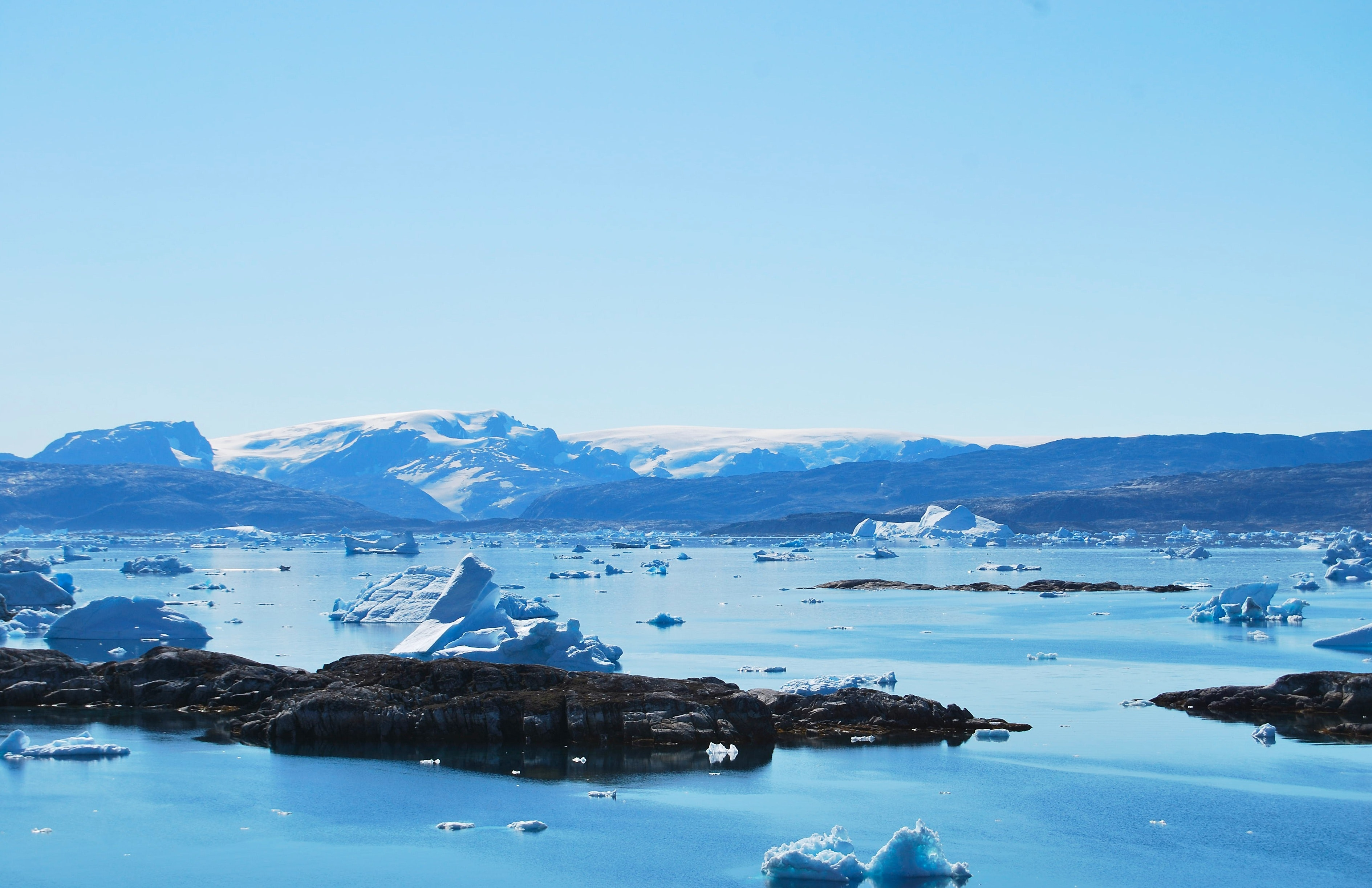Icy Mountain and Ocean Scenery